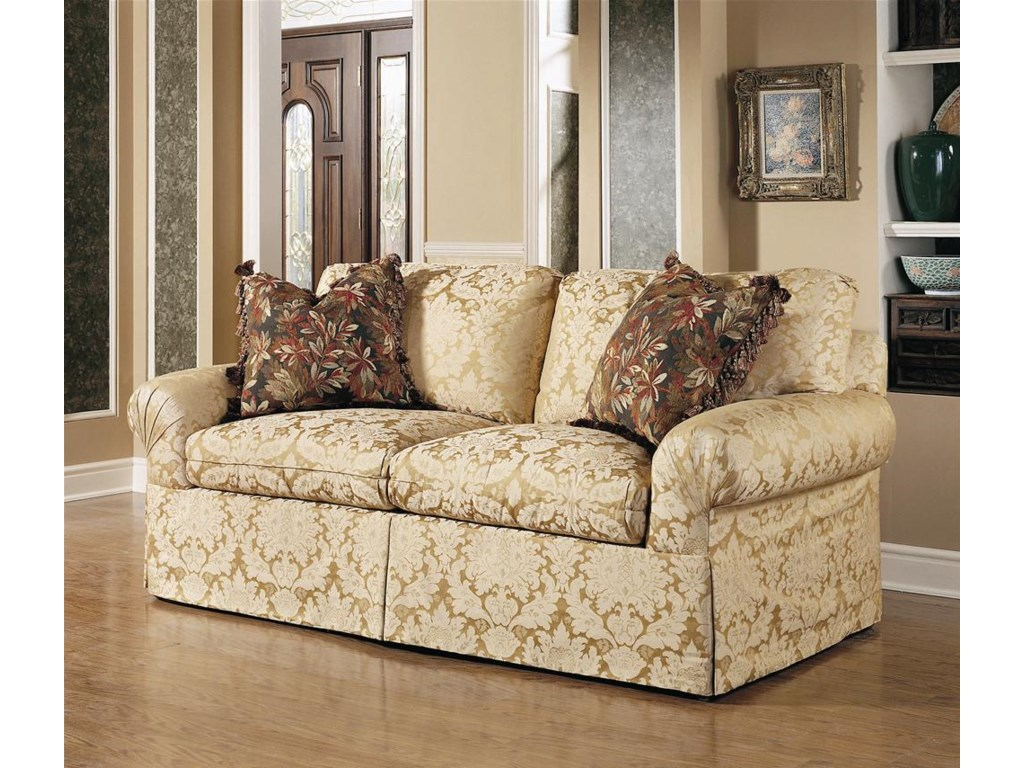 Shown in 80 Inches, with a Straight Cushion Upholstered Waterfall Base