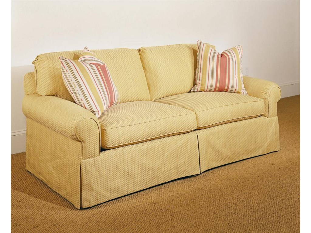 Shown in 88 Inches, with a Straight Cushion Pleated Sock Arm, Boxed Welt, and Upholstered Waterfall Base