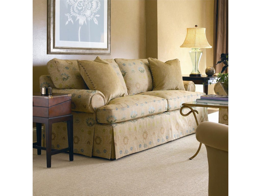 Shown in 86 Inches, with a T-Cushion Envelope Arm, Boxed Welt, and Dressmaker Base