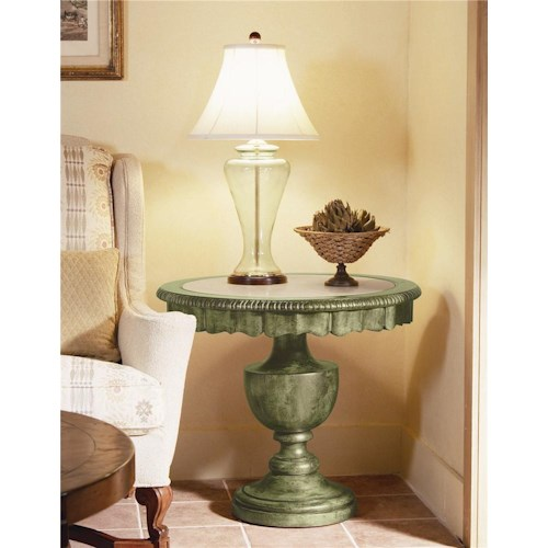 Century Caperana Lamp Table with Travertine Insert Top