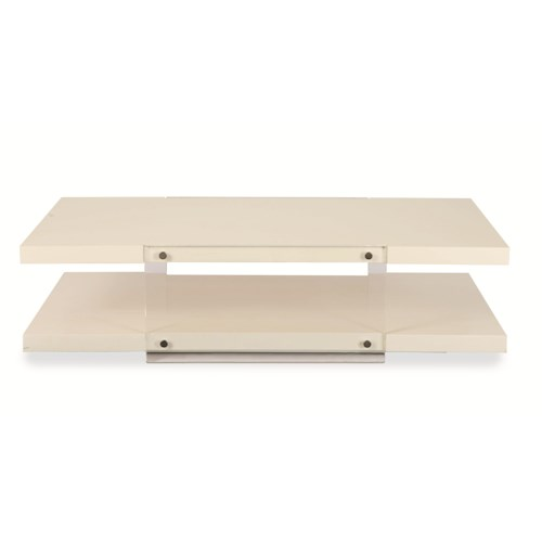 Century Chin Hua Parallel Horizontal Plank Cocktail Table with Acrylic Side Panels