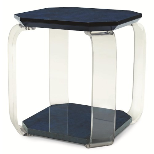 Century Chin Hua Colored Octagon Chairside Table with Flat Acrylic Legs