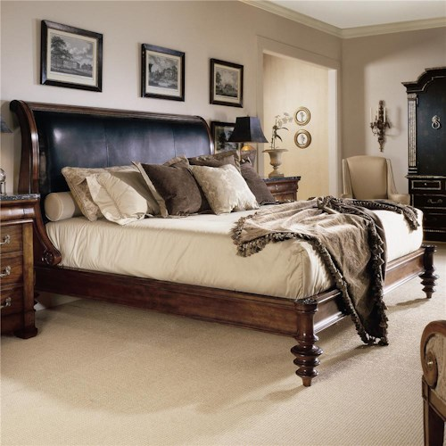 Century Consulate King Upholstered Napoleon Bed with Leather