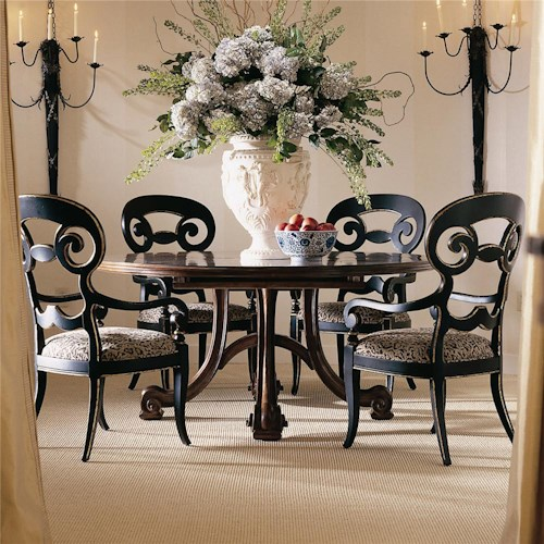 Century Consulate Hortense Round Dining Table and 4 Arm Chairs