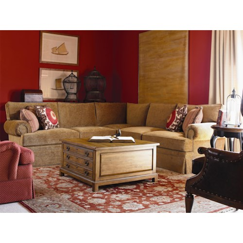 Century Cornerstone  <b>Customizable</b> Sectional Sofa with Lawson Arms and Kick Pleat Skirt