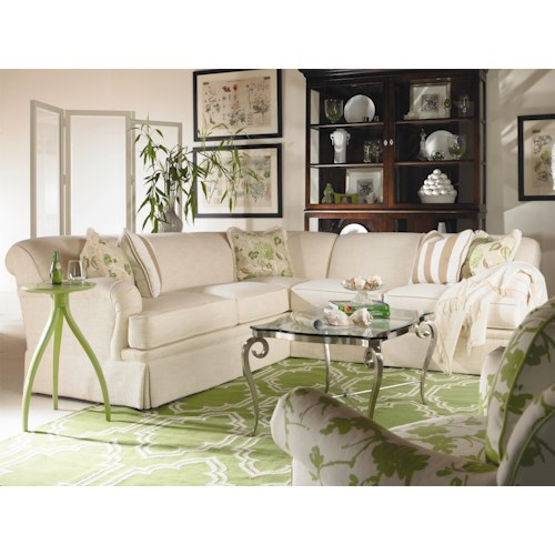 Century Cornerstone  <b>Customizable</b> Sectional Sofa with English Arms and Kick Pleat Skirt