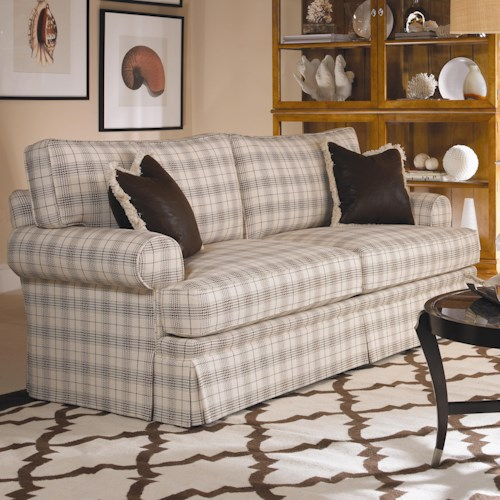 Century Cornerstone  <b>Customizable</b> Stationary Sofa with Sock Arms and Dressmaker Skirt