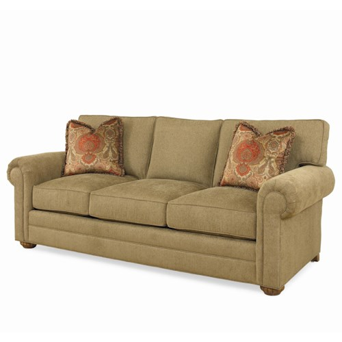 Century Cornerstone  <b>Customizable</b> Stationary Sofa with Rolled Arms and Cluster Feet