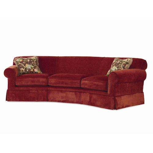 Century Cornerstone  <b>Customizable</b> Conversation Sofa Kick Pleat Skirt and Sock Arms