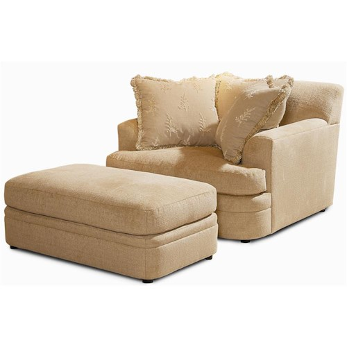 Century Elegance  Upholstered Chair & Ottoman with 3 Pillows
