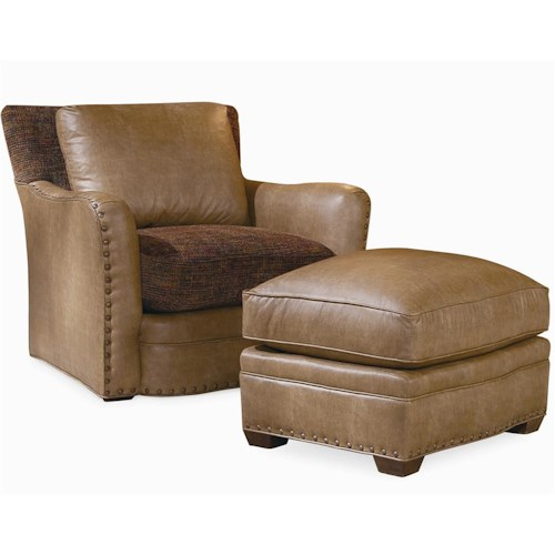 Century Elegance Upholstered Chair & Ottoman with Nail Head Trim