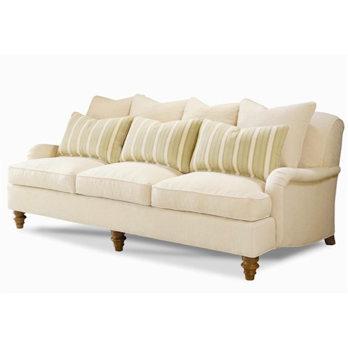 Century Elegance  Stationary Sofa with Turned Wood Feet