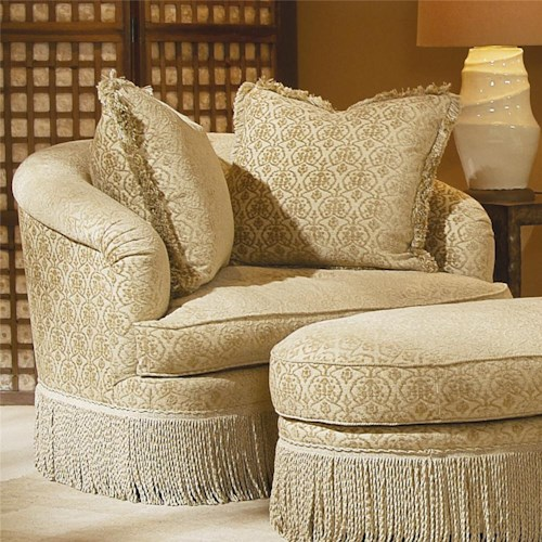 Century Elegance  Swivel Chair with Fringed Base