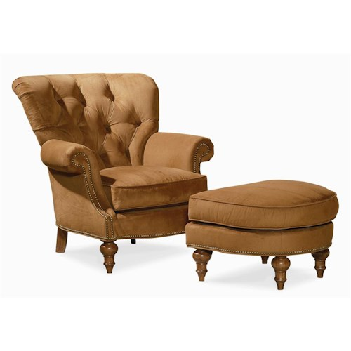 Century Elegance  Tufted Seat Back Chair & Ottoman