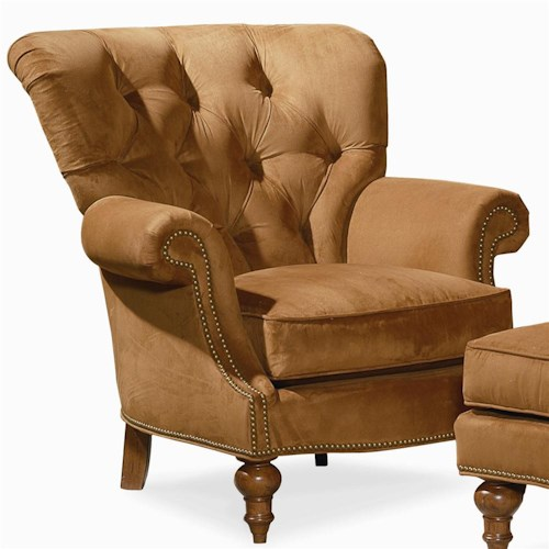 Century Elegance  Tufted Back Chair with Turned Feet