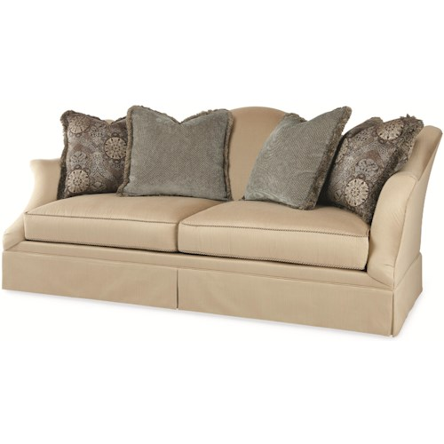 Century Elegance  Stafford Skirted Sofa with Camel Back & Flair Arms