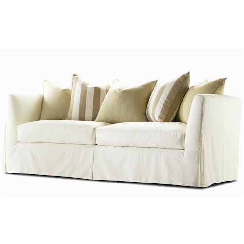 Century Elegance  Stationary Skirted Sofa with Track Arm