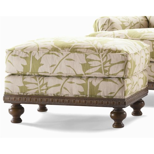 Century Elegance  Upholstered Ottoman with Rounded Feet