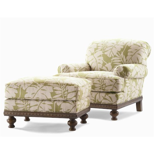 Century Elegance  Upholstered Chair & Ottoman with Turned Feet