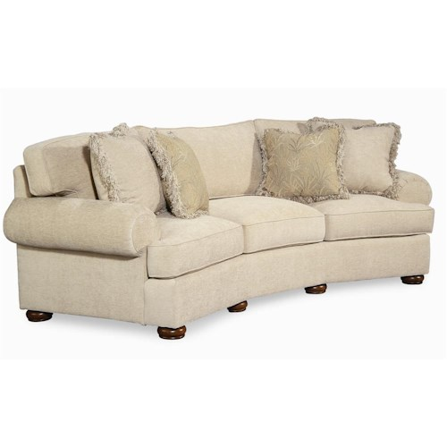 Century Elegance  Wedge Sofa with Bun Feet