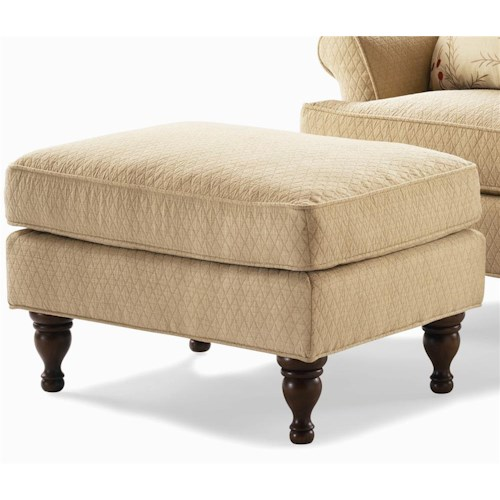 Century Elegance  Upholstered Ottoman with Turned Feet