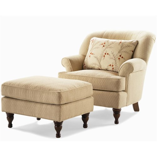 Century Elegance  Upholstered Chair & Ottoman with Flared Arms