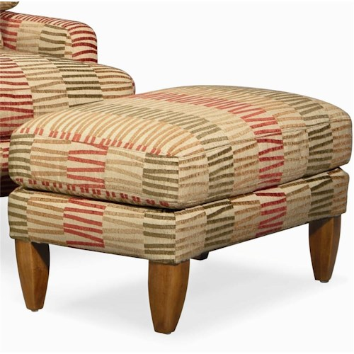 Century Elegance  Upholstered Ottoman with Tall Legs