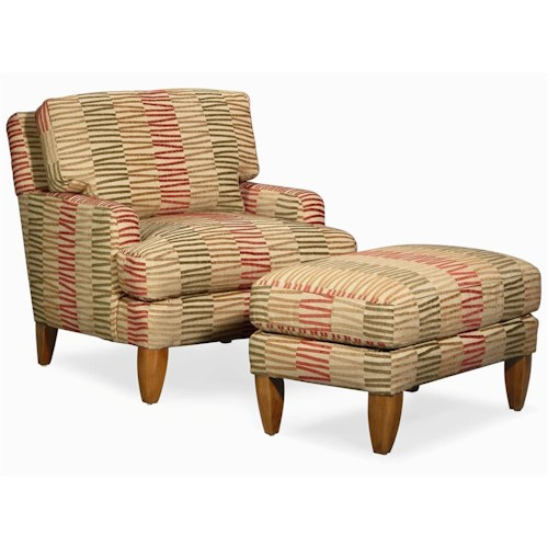 Century Elegance  Upholstered Chair & Ottoman with Tapered Feet