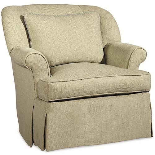 Century Elegance  Rebecca Swivel Chair with Throw Pillow & Waterfall Skirt