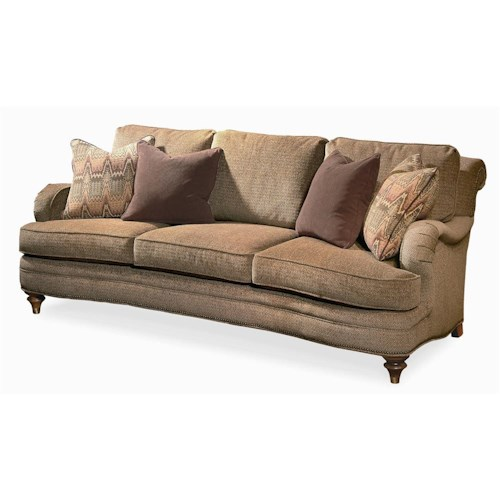 Century Elegance  Stationary Sofa with Exposed Wood Feet