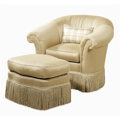 Century Elegance  Upholstered Chair & Ottoman with Skirted Base