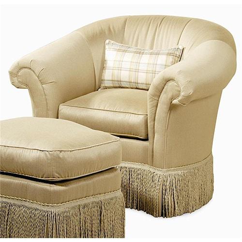Century Elegance  Swivel Upholstered Chair with Fringed Skirt