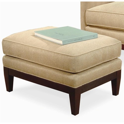 Century Elegance  Upholstered Ottoman with Wood Legs