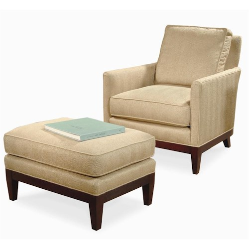 Century Elegance  Upholstered Chair & Ottoman with Exposed Wood Feet