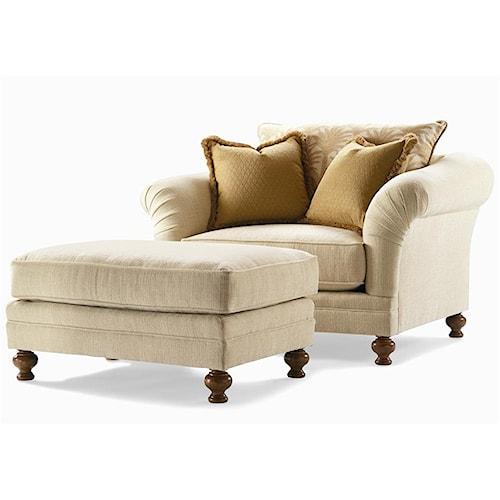 Century Elegance  Upholstered Chair & Ottoman Set