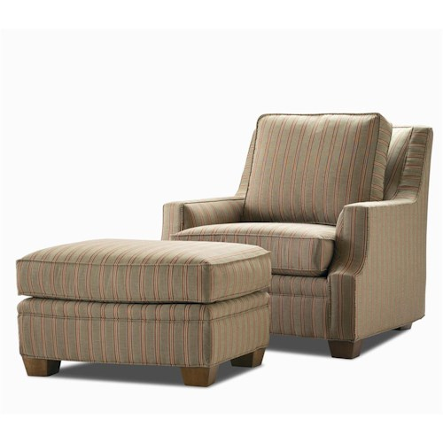 Century Elegance  Chair & Ottoman with Exposed Wood Feet