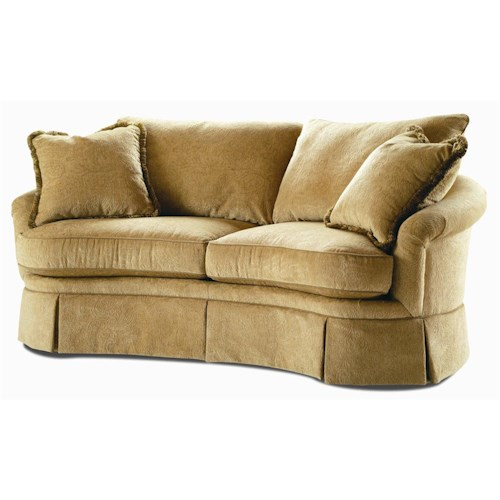 Century Elegance  Curved Sofa with Skirted Base