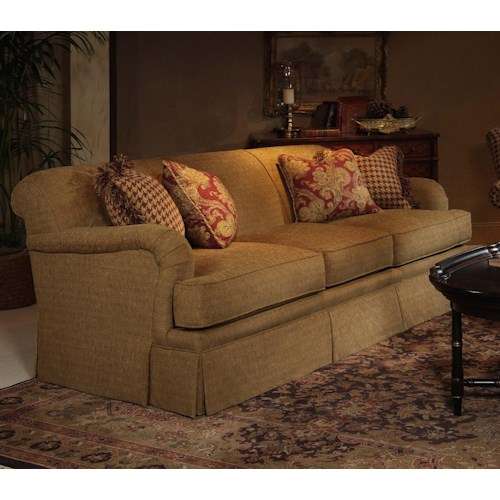 Century Elegance  Casual Skirted Stationary Sofa with Padded Track Arms