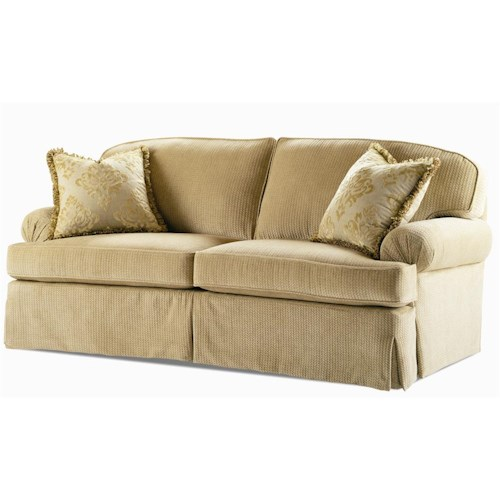 Century Elegance  Stationary Sofa with Pleated Rolled Arms