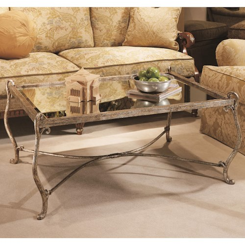 Century Grand Tour Rectangular Cocktail Table w/ Glass Top