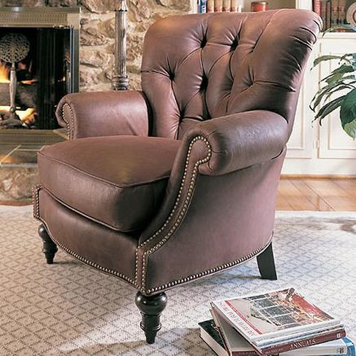 Century Leather Upholstery Oxford Leather Chair with Tufted Seat Back