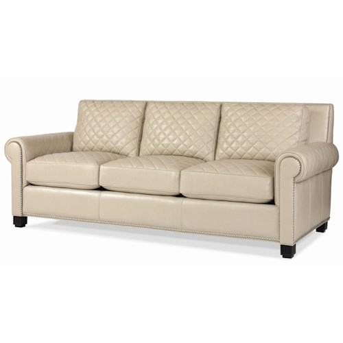 Century Leather Upholstery Quilted Leather Stationary Sofa