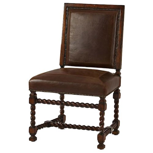 Century Marbella 661 Esteban Mahogany and Leather Side Chair