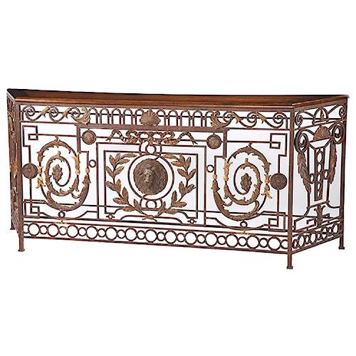 Century Marbella 661 Felisa Wrought Iron Console Table with Elegant Rust Finish
