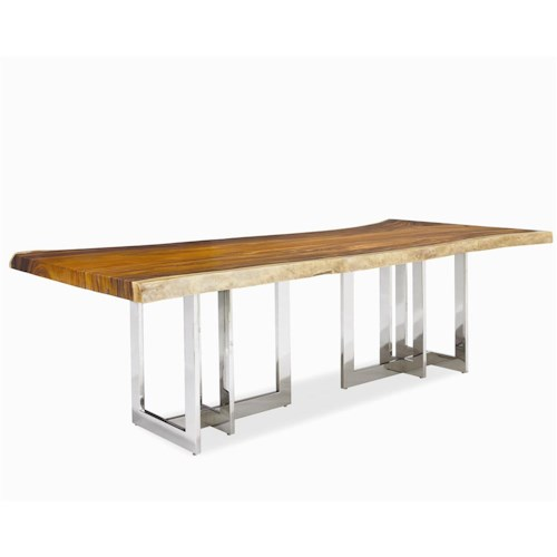 Century Milan Solid Wood Slab Top with Polished Stainless Steel Base
