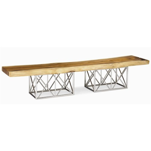 Century Milan Natural Edge Slab Cocktail Table with Stainless Steel Base