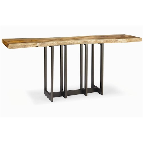 Century Milan Natural Edge Slab Console with Polished Stainless Steel Base