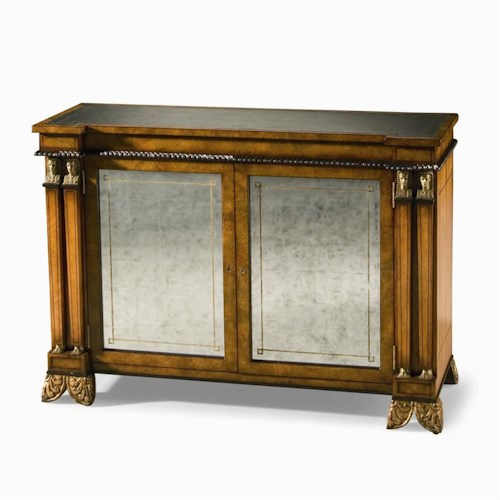Century Monarch Fine Furniture Russian Console Cabinet with Mirror Glass Panels