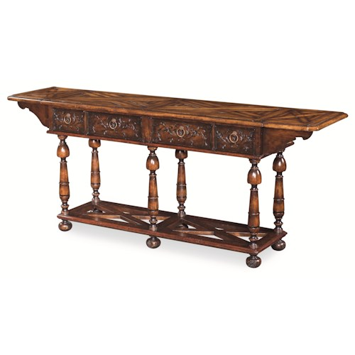 Century Monarch Fine Furniture 3 Drawer Carmel Sofa Table with Turned Legs and Floral Carved Drawer Fronts