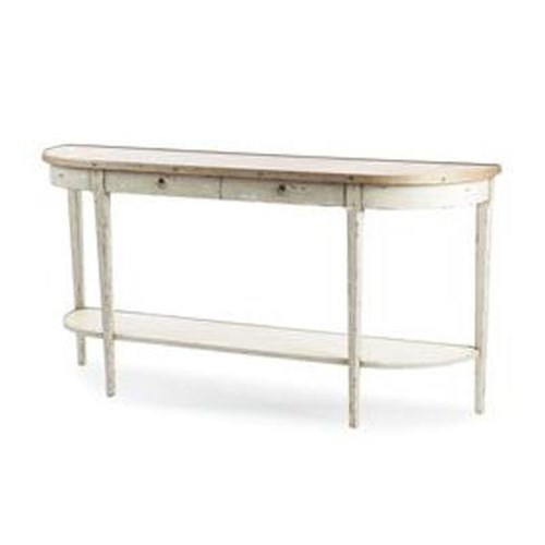 Century Monarch Fine Furniture 2 Drawer Hannah Demilune Console Table with Antique Honey Finished Top and
